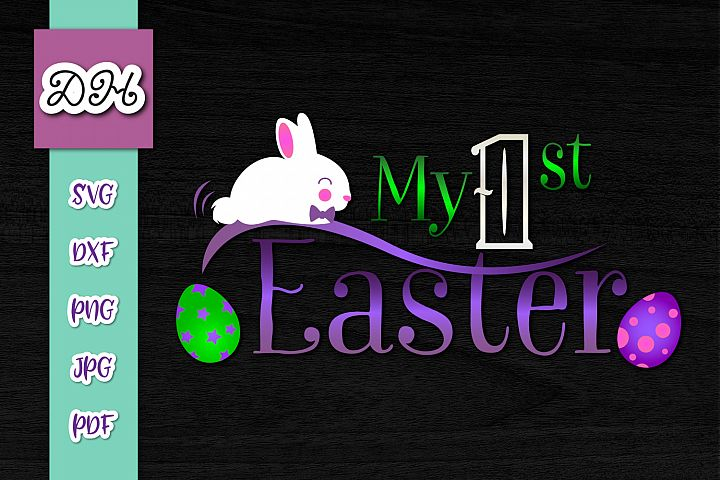 My 1st First Easter Sign Bunny Rabbit Boy Print & Cut PNG SV