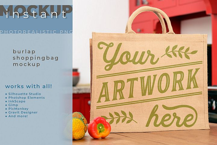 Burlap shopping-bag mockup, tote bag, jute bag mock up