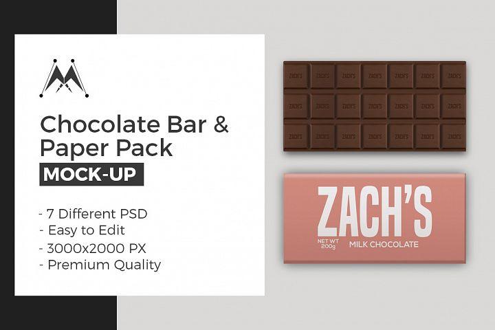 Chocolate Bar Paper Pack Mockup