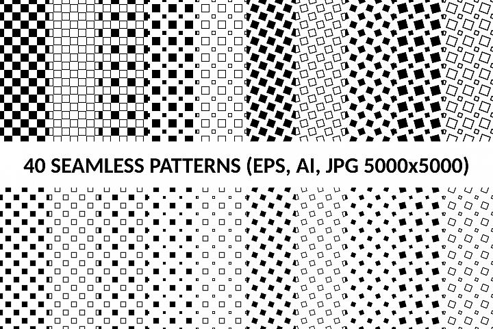40 Seamless Square Patterns (AI, EPS, JPG 5000x5000)