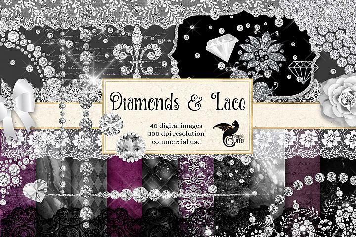 Diamonds and Lace Digital Scrapbooking Kit