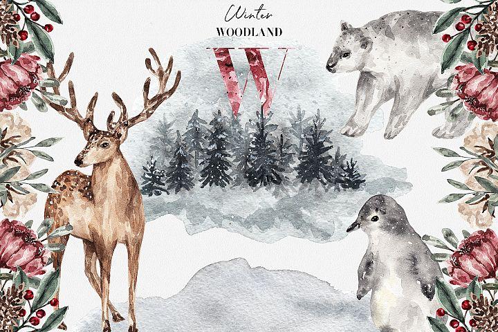 Winter Woodland Watercolor