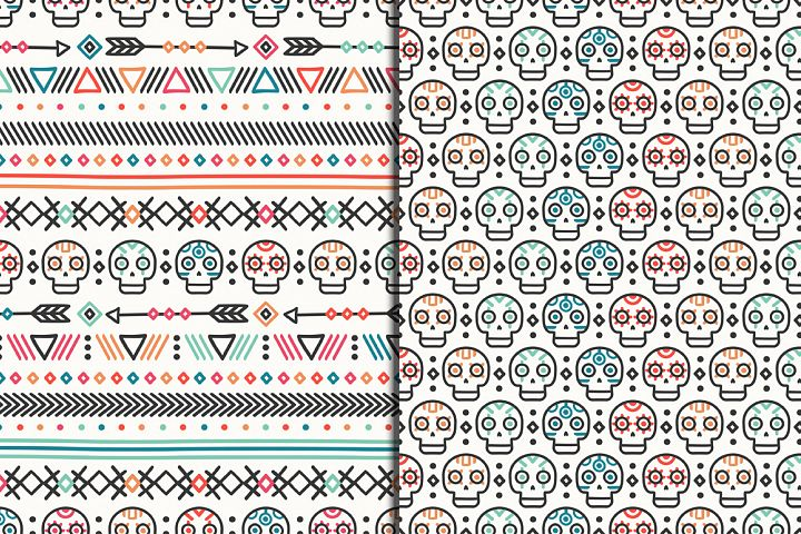 Day of the Dead Patterns with skulls. Dia de los Muertos.