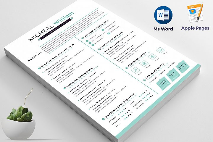 Resume / Cv Apple Pages & Ms Word