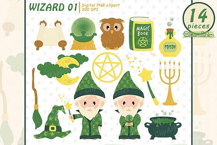 WIZARD clipart, Cute magic clip art set, Magic party decor