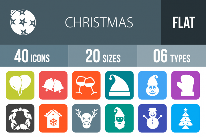 40 Christmas Filled Round Corner Icons