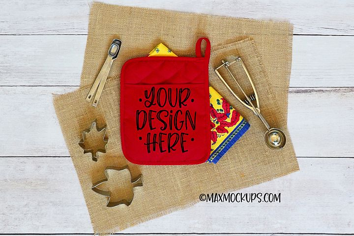 Red pocket kitchen potholder mockup, oven mitt hot pad