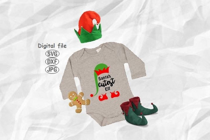 Santas Cutest Elf Svg, Christmas Svg, Elf Hat Svg