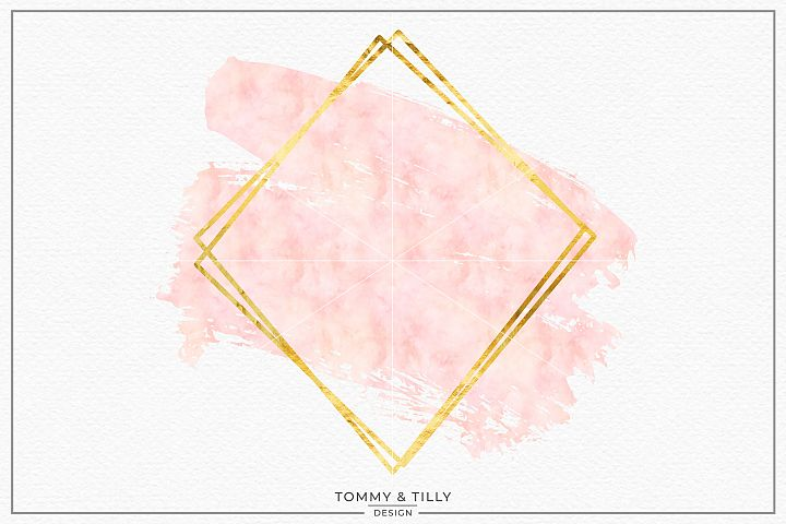 Blush Gold Geometric Frame No.4- Sublimation PNG Clipart
