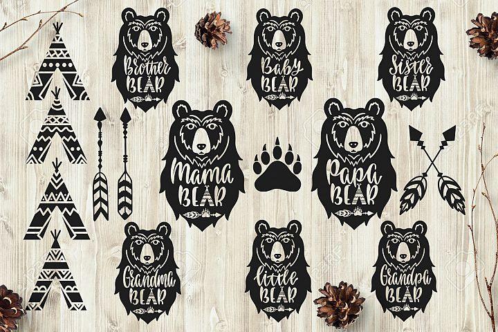 Bear Family Heads Bundle. Mama, Papa, Baby Bears. Bear Face.