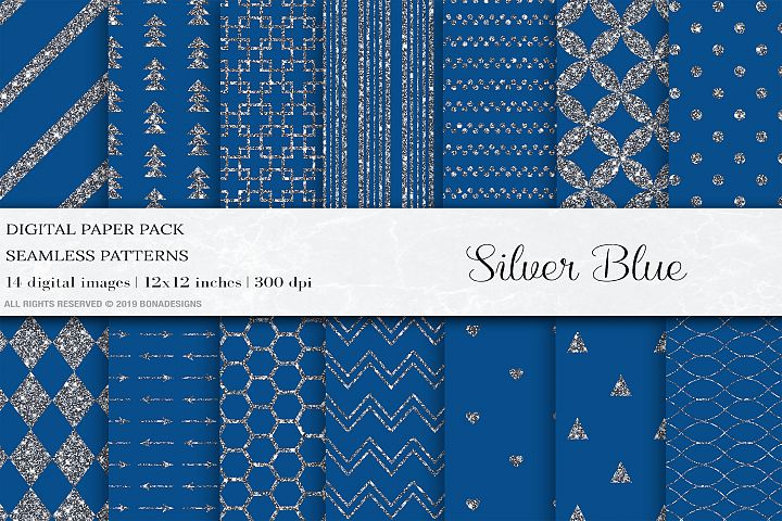 Blue Silver Digital Papers, Silver Patterns