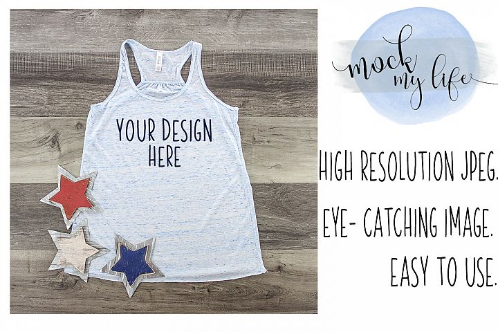 MockUp Bella Canvas Shirt / Patriotic Flat Lay / Blue Marble