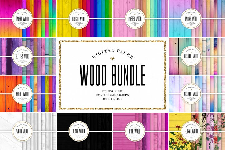 Digital Paper BUNDLE, 120 Wood Backgrounds, Wooden Textures
