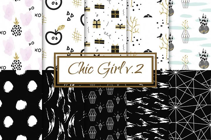 Chic Girl v2. - seamless patterns