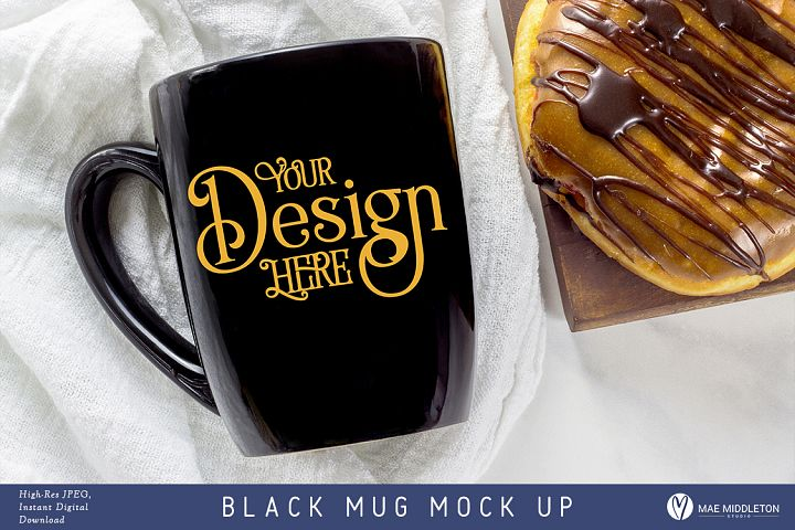Black Mug Mock up, styled photo