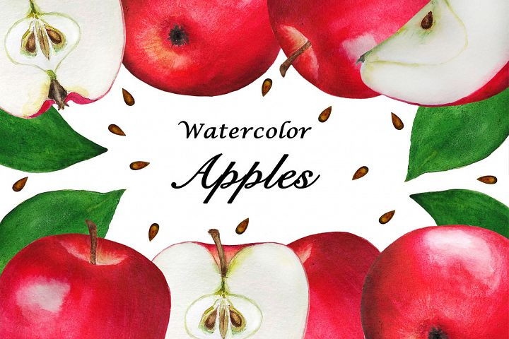 Apples watercolor set