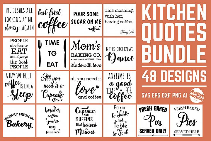 Kitchen Quotes SVG Bundle 48 Designs, Kitchen Sign SVG Files