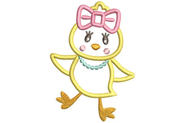 Girl Chick Applique