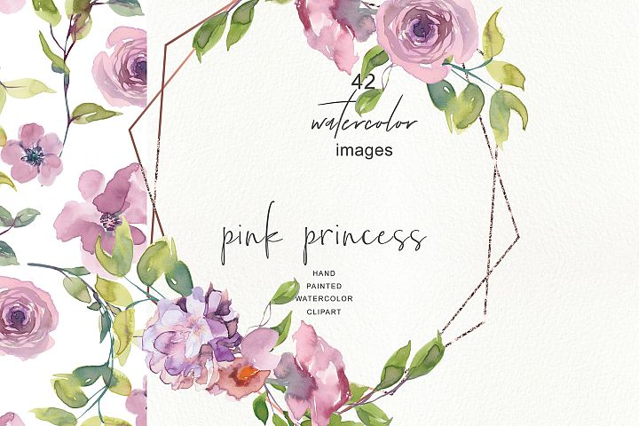 Watercolor Mauve Rose Clipart - Floral Frame Collection