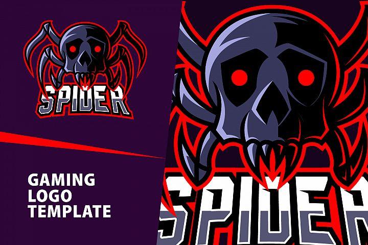 Spider Skull Gaming Logo Template