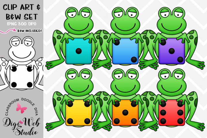 Clip Art / Illustrations - Colorful Dice Frogs