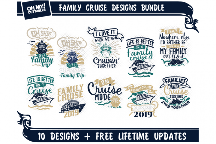 Family Cruise SVG Shirts in SVG, DXF, PNG, EPS, JPG