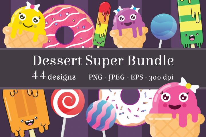 Dessert Clipart Bundle, Cute Sweet Treats, PNG, JPEG, EPS
