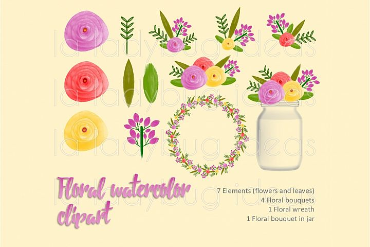 Pink floral watercolor clip art collection.
