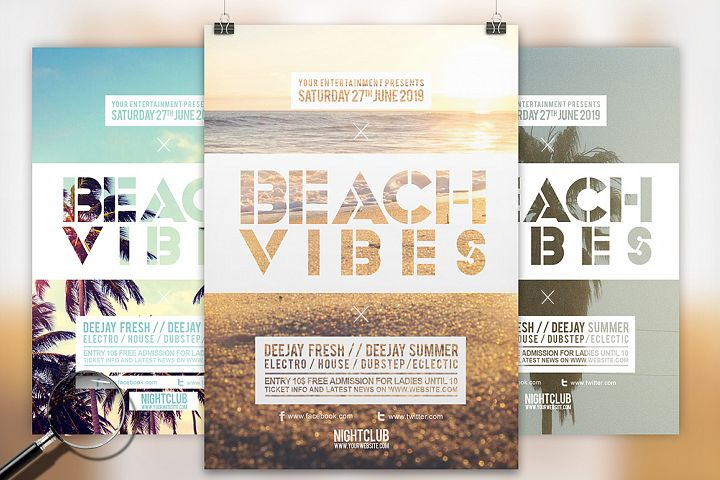 Beach Vibes   3in1 Summer Flyer Template