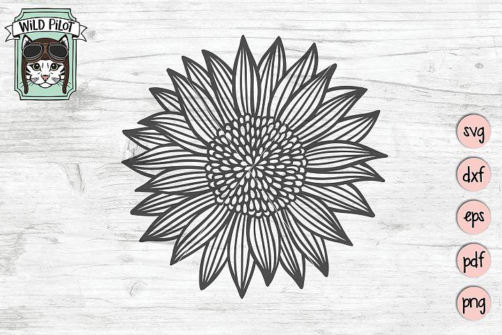 Sunflower SVG file, Flower SVG files, Sunflower cut file