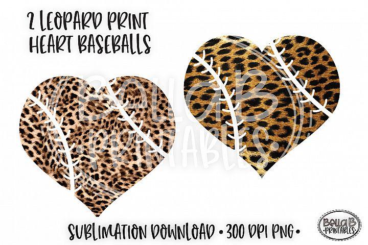 Leopard Print Heart Baseball Sublimation Design
