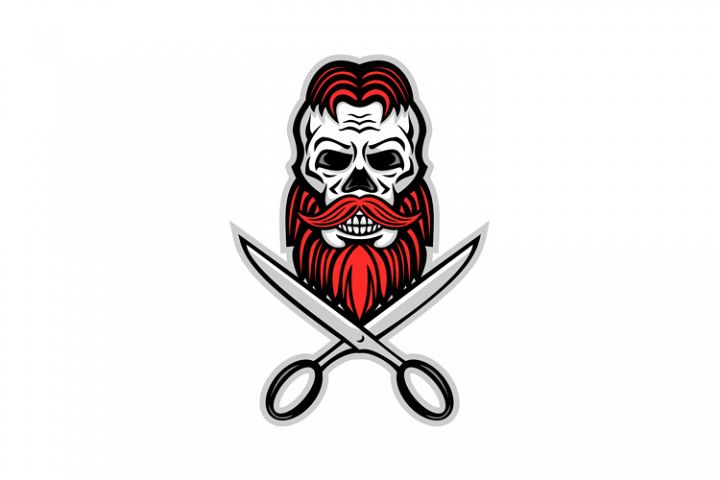 Skull Hair and Beard Scissors Mascot