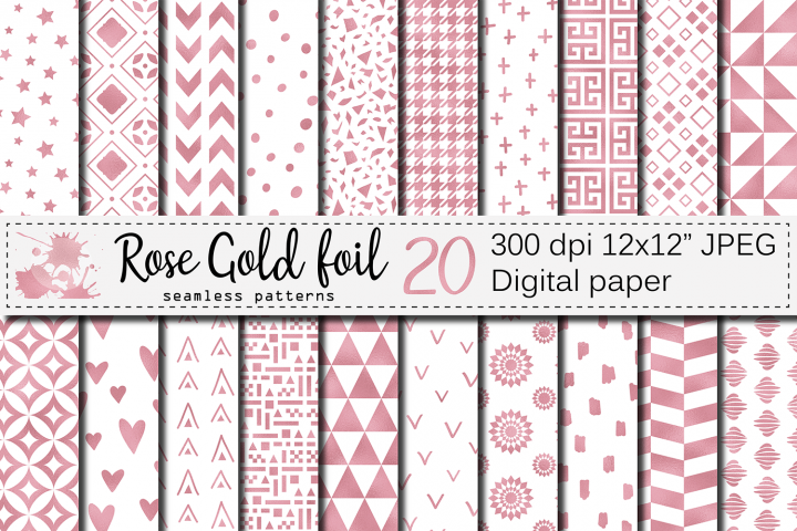 Rose gold foil seamless geometric patterns, digital papers