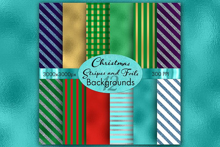 Christmas Stripes and Foils Backgrounds - 12 Image Set
