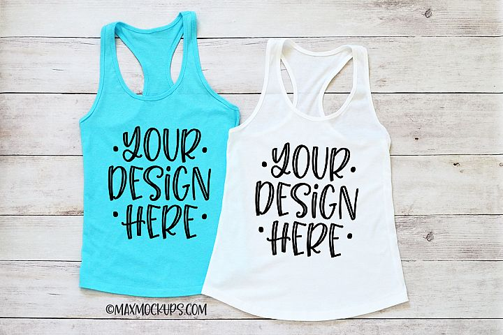 2 Racerback tank tops Mockup, turquoise, white, Next Level