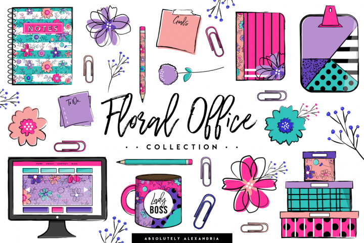 Floral Office Illustrations & Seamless Digital Patterns