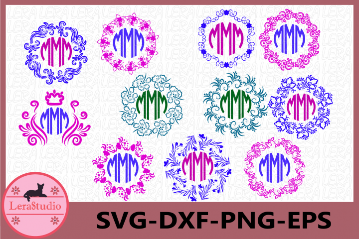 Pattern Frames Svg, Circle Monogram Frames svg, Frames