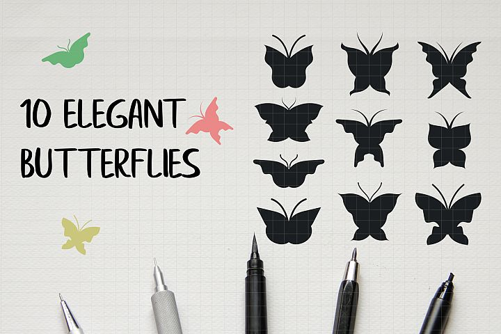 Vector Butterfly Clipart Pack Hand Drawn Cutting Files EPS