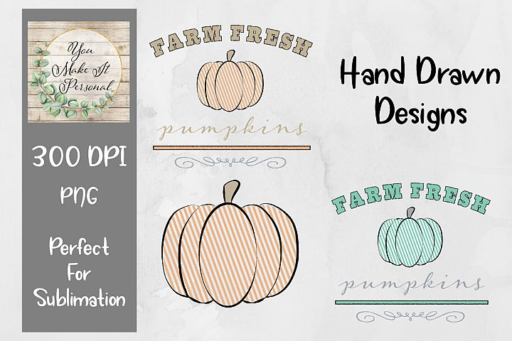 Set of 3, Farm Fresh Pumpkins, Hand Drawn Pumpkin Designs
