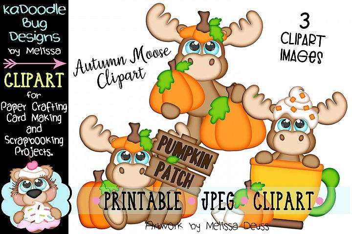 Pumpkin Moose Clipart - 2 JPEG Files