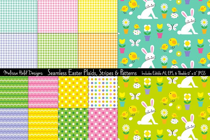 Seamless Easter Plaids, Stripes & Patterns