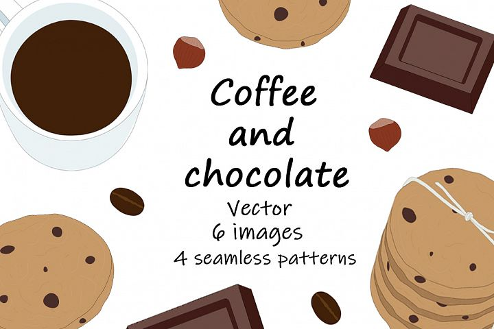 Set Vector coffee and chocolate