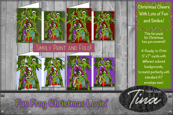 Christmas Cards Ready To Print Frogs Celebrating Xmas Fun