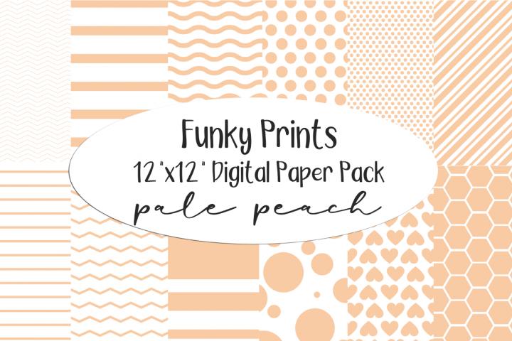 Funky Prints 12x 12 Pale Peach Digital Paper Pack