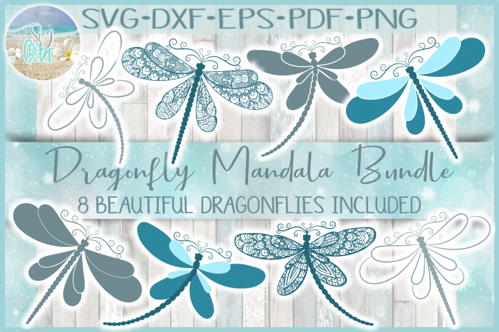 Dragonfly Mandala Zentangle Bundle Svg Dxf Eps Png Pdf Files
