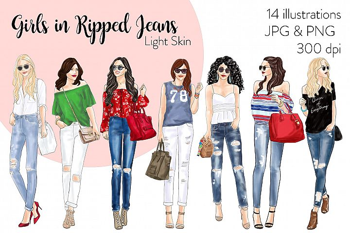 Fashion clipart -Girls in Ripped Jeans - Light Skin