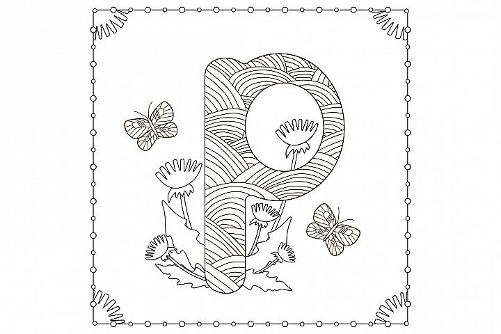 Letter P. Flowers. Coloring page.