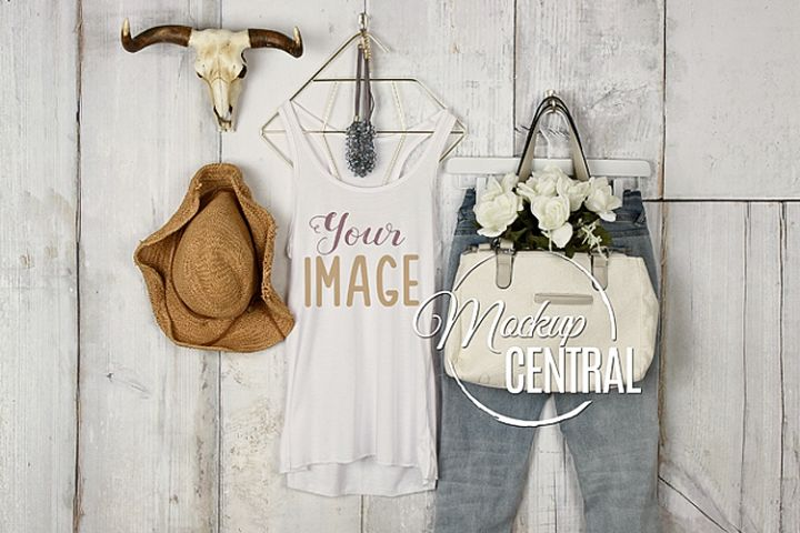 Womens Blank White Tank Top Country Shirt JPG Mock Up