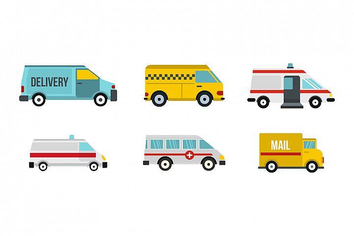 Minivan icon set, flat style