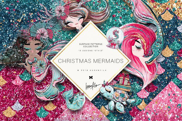 Christmas Mermaid Glitter Textures